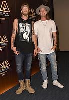 11 June 2016 - Nashville, Tennessee - Tyler Hubbard and Brian Kelley, Florida Georgia Line. 2016 CMA Music Festival Nightly Press Conference held at Nissan Stadium. Photo Credit: AdMedia