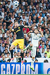 Saul Niguez Esclapez (l) of Atletico de Madrid fights for the ball with Nacho Fernandez of Real Madrid during their 2016-17 UEFA Champions League Semifinals 1st leg match between Real Madrid and Atletico de Madrid at the Estadio Santiago Bernabeu on 02 May 2017 in Madrid, Spain. Photo by Diego Gonzalez Souto / Power Sport Images