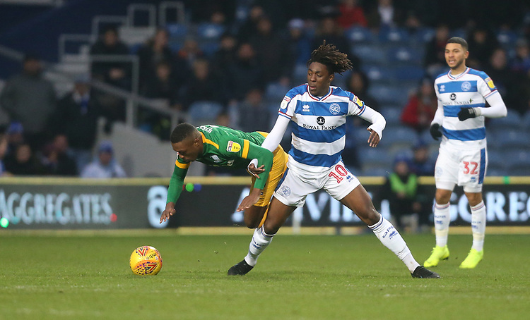 Preston North End's Darnell Fisher and Queens Park Rangers' Eberechi Eze<br /> <br /> Photographer Rob Newell/CameraSport<br /> <br /> The EFL Sky Bet Championship - Queens Park Rangers v Preston North End - Saturday 19 January 2019 - Loftus Road - London<br /> <br /> World Copyright &copy; 2019 CameraSport. All rights reserved. 43 Linden Ave. Countesthorpe. Leicester. England. LE8 5PG - Tel: +44 (0) 116 277 4147 - admin@camerasport.com - www.camerasport.com