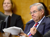 """United States Senator Bob Menendez (Democrat of New Jersey) listens to testimony before the United States Senate Committee on Foreign Relations concerning """"Sanctions and the Joint Comprehensive Plan of Action (JCPOA)"""" on Capitol Hill on Wednesday, July 29, 2015.<br /> Credit: Ron Sachs / CNP"""