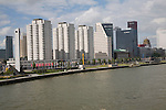 Public housing apartment blocks at Boompjes, waterfront area of central Rotterdam, Netherlands