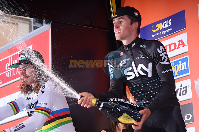 Michal Kwaitkowski (POL) Team Sky wins the 108th edition of Milan-San Remo 2017 by NamedSport the first Classic Monument of the season running 291km from Milan to San Remo, Italy. 18th March 2017.<br /> Picture: La Presse/Gian Mattia D'Alberto | Cyclefile<br /> <br /> <br /> All photos usage must carry mandatory copyright credit (&copy; Cyclefile | La Presse)