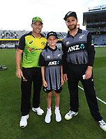 ANZ coin toss winner with David Warner and Kane Williamson.<br /> New Zealand Black Caps v Australia.Tri-Series International Twenty20 cricket final. Eden Park, Auckland, New Zealand. Wednesday 21 February 2018. &copy; Copyright Photo: Andrew Cornaga / www.Photosport.nz