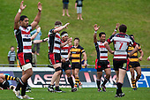 Steelers players celebrate the seasons first win at the sound of the final whistle. Air New Zealand Cup Rugby Union match between Counties Manukau and Taranaki played at Growers Stadium, Pukekohe, on Saturday 23 August 2009.