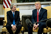 President Donald Trump meets with Prime Minister Paolo Gentiloni of Italy in the Oval Office of the White House in Washington, District of Columbia, U.S., on Thursday, April 20, 2017.  Trump and Gentiloni are meeting ahead of the G-7 industrialized nations meeting in Italy next month. Photographer: Pete Marovich/BloombergUnited States President Donald Trump meets with Prime Minister Paolo Gentiloni of Italy in the Oval Office of the White House in Washington, DC on Thursday, April 20, 2017.  Trump and Gentiloni are meeting ahead of the G-7 industrialized nations meeting in Italy next month. <br /> Credit: Pete Marovich / Pool via CNP