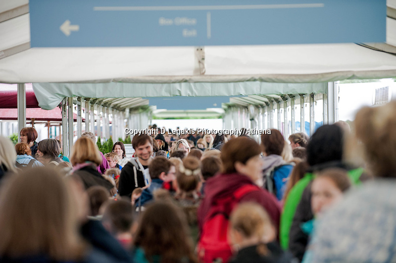 Thursday 22 May 2014<br /> Pictured: Crowds of school kids at the Hay Festival<br /> Re: Hay Festival takes place at Hay on Wye, Powys, Wales