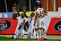 CUCUTA - COLOMBIA, 28-04-2019: Sergio Mosquera (#16) del Tolima celebra después de anotar el segundo gol de su equipo durante partido por la fecha 18 entre Cúcuta Deportivo y Deportes Tolima como parte de la Liga Águila I 2019 jugado en el estadio General Santander de la ciudad de Cúcuta. / Sergio Mosquera (#16) of Tolima celebrates after scoring the second goal of his team during match for the date 18 between Cucuta Deportivo y Deportes Tolima as a part of Aguila League I 2019 played at General Santander stadium in Cucuta city. Photo: VizzorImage / Edgar Cusguen / Cont