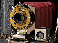 Kodak Eastman Brownie Automatic with red bellows camera. No 2 Pocket Folding