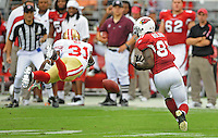 Sept. 13, 2009; Glendale, AZ, USA; San Francisco 49ers cornerback (31) Dre Bly breaks up a pass intended for Arizona Cardinals wide receiver (81) Anquan Boldin at University of Phoenix Stadium. San Francisco defeated Arizona 20-16. Mandatory Credit: Mark J. Rebilas-