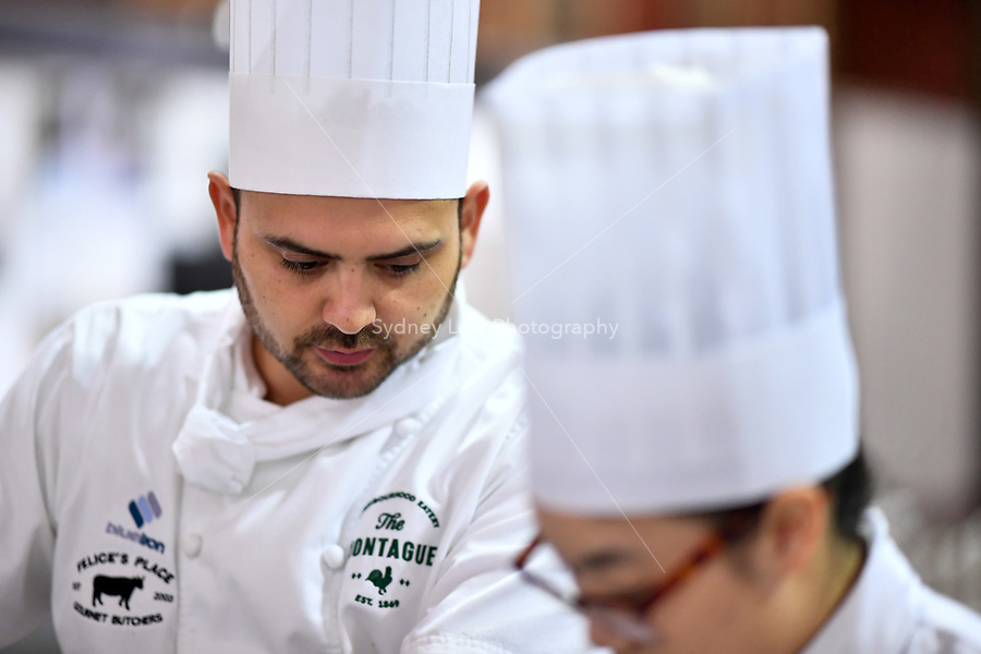 Melbourne, 30 May 2017 - Daniel Soto of the Montague Hotel in South Melbourne looks on at the Australian selection trials of the Bocuse d'Or culinary competition held during the Food Service Australia show at the Royal Exhibition Building in Melbourne, Australia. Photo Sydney Low
