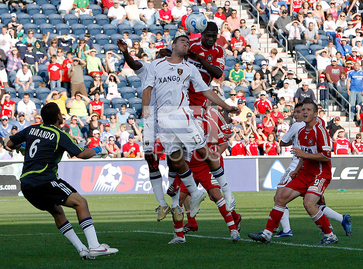 Chicago Fire forward Jerson Monteiro (15) heads a shot over Real Salt Lake defender Jack Stewart (13).  The Chicago Fire and Real Salt Lake tied 0-0 at Toyota Park in Bridgeview, IL on May 27, 2007.