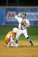 High Point-Thomasville HiToms second baseman Kennon Menard (2) makes a throw to first base as Ryan Mincher (14) of the Asheboro Copperheads slides into second base at Finch Field on June 12, 2015 in Thomasville, North Carolina.  The HiToms defeated the Copperheads 12-3. (Brian Westerholt/Four Seam Images)