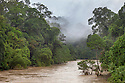 Segama River surrounded by dense dipterocarp rainforest, Danum Valley, Sabah, Borneo.