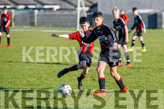 Donnaha Barrett (Mallow) in action against Venis Jahiri  Mallow United in the National Cup Christy Leahy Park on Sunday