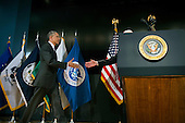 United States President Barack Obama shakes hands with Director of National Intelligence James Clapper as he arrives to speak at a ceremony marking the 10th anniversary of the formation for the Office of the Director of National Intelligence, at it's headquarters on April 24, 2015 in McLean, Virginia. <br /> Credit: Kevin Dietsch / Pool via CNP