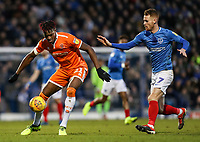Blackpool's Armand Gnanduillet competing with Portsmouth's Tom Naylor<br /> <br /> Photographer Andrew Kearns/CameraSport<br /> <br /> The EFL Sky Bet League One - Portsmouth v Blackpool - Saturday 12th January 2019 - Fratton Park - Portsmouth<br /> <br /> World Copyright &copy; 2019 CameraSport. All rights reserved. 43 Linden Ave. Countesthorpe. Leicester. England. LE8 5PG - Tel: +44 (0) 116 277 4147 - admin@camerasport.com - www.camerasport.com
