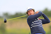 Tapio Pulkkanen (FIN) on the 1st tee during Round 1 of the Challenge de Madrid, a Challenge  Tour event in El Encin Golf Club, Madrid on Wednesday 22nd April 2015.<br /> Picture:  Thos Caffrey / www.golffile.ie