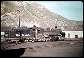 3/4 rear view of D&amp;RGW #464 at Durango yards.<br /> D&amp;RGW  Durango, CO