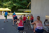 Lucerne, SWITZERLAND, 12th July 2018, Friday  FISA World Cup series, No.3, Lake Rotsee, Lucerne,  Photographer Karon PHILLIPS NED. women' warming up on the RP3 ERGO.