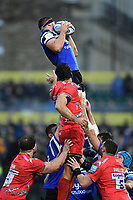 Charlie Ewels of Bath Rugby wins the ball at a lineout. Gallagher Premiership match, between Bath Rugby and Sale Sharks on December 2, 2018 at the Recreation Ground in Bath, England. Photo by: Patrick Khachfe / Onside Images