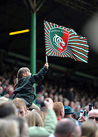 A Leicester Tigers fan in the crowd waves a flag in support. Aviva Premiership match, between Leicester Tigers and Exeter Chiefs on September 30, 2017 at Welford Road in Leicester, England. Photo by: Patrick Khachfe / JMP