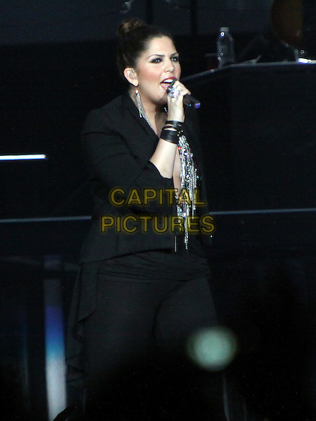 Hillary Scott of Lady Antebellum.Country stars Lady Antebellum made a stop on their tour in Duluth, GA, at the Gwinnett Center Arena, .June 22nd, 2012..music country concert gig onstage performing live half length black jacket silver beaded top microphone singing .CAP/ADM/DH.©Dan Harr/AdMedia/Capital Pictures.