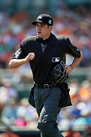 Umpire John Tumpane during a Baltimore Orioles Spring Training game against the Minnesota Twins on March 7, 2016 at Ed Smith Stadium in Sarasota, Florida.  Minnesota defeated Baltimore 3-0.  (Mike Janes/Four Seam Images)