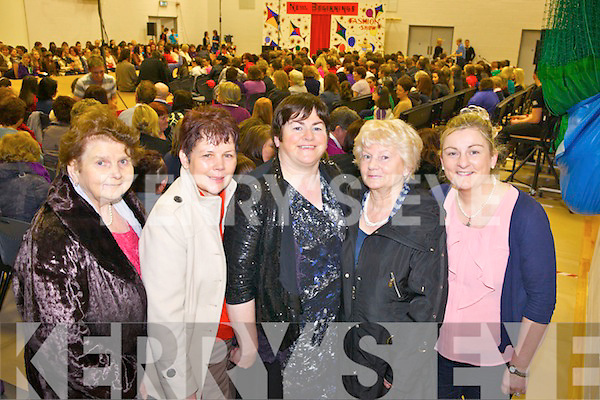 Enjoying the fashion last Thusday night was Mary Anne Moloney, Margaret Leahy, Kathleen Moloney, Maureen Fitzgerald and Margaret Moloney, pictured in Scoil Ide agus Iosef, Abbeyfeale for a special fundrasing event organised by the transition year students.