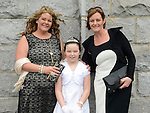 Abagail Radford who received her first holy communion in Duleek church pictured with mam Jackie and Alison Burke. Photo:Colin Bell/pressphotos.ie