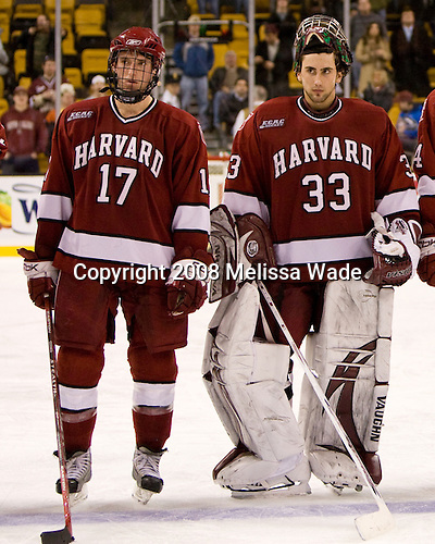 Tyler Magura (Harvard 17), Kyle Richter (Harvard 33) - The Boston College Eagles defeated the Harvard University Crimson 6-5 in overtime on Monday, February 11, 2008, to win the 2008 Beanpot at the TD Banknorth Garden in Boston, Massachusetts.