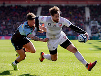 Gloucester's Danny Cipriani evades the tackle of Harlequins' Niall Saunders<br /> <br /> Photographer Bob Bradford/CameraSport<br /> <br /> Gallagher Premiership - Harlequins v Gloucester Rugby - Sunday 10th March 2019 - Twickenham Stoop - London<br /> <br /> World Copyright &copy; 2019 CameraSport. All rights reserved. 43 Linden Ave. Countesthorpe. Leicester. England. LE8 5PG - Tel: +44 (0) 116 277 4147 - admin@camerasport.com - www.camerasport.com