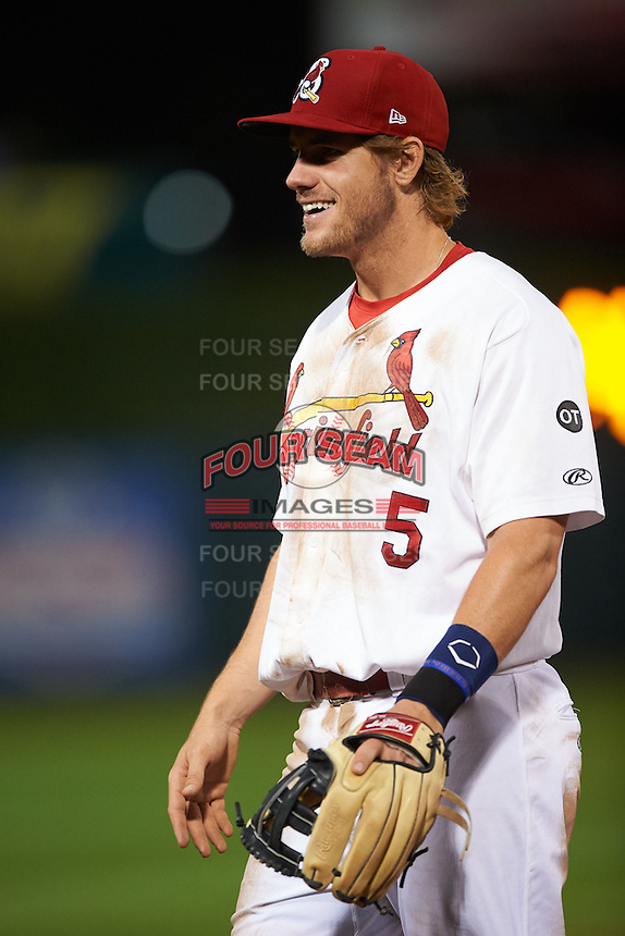 Springfield Cardinals third baseman Patrick Wisdom (5) during a game against the Frisco RoughRiders  on June 4, 2015 at Hammons Field in Springfield, Missouri.  Frisco defeated Springfield 8-7.  (Mike Janes/Four Seam Images)