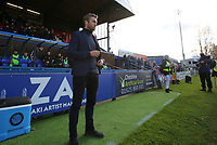 Macclesfield Town Manager Daryl McMahon before the kick off in the dug out during Macclesfield Town vs Kingstonian, Emirates FA Cup Football at the Moss Rose Stadium on 10th November 2019