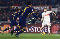 12th January 2020; Stadio Olympico, Rome, Italy; Italian Serie A Football, Roma versus Juventus; Leonardo Bonucci of Juventus passes forward across Chris Smalling of Roma - Editorial Use