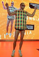 MEDELLÍN -COLOMBIA-27-01-2015. Con la propuesta del diseñador Mario Francisco el grupo de empresas de Brasil realizó la presentación de las tendencias de la moda durante  Colombiatex 2015 que se lleva cabo en Plaza Mayor de la ciudad de  Medellín./ With the proposal of designer Mario Francisco the group companies from Brasil made the show fashion trends during Colombiatex 2015 at Plaza Mayor in Medellin, Colombia.  Photo:VizzorImage / Luis Rios / STR