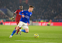 26th December 2019; King Power Stadium, Leicester, Midlands, England; English Premier League Football, Leicester City versus Liverpool; Harvey Barnes of Leicester City cuts inside with the ball at his feet - Strictly Editorial Use Only. No use with unauthorized audio, video, data, fixture lists, club/league logos or 'live' services. Online in-match use limited to 120 images, no video emulation. No use in betting, games or single club/league/player publications
