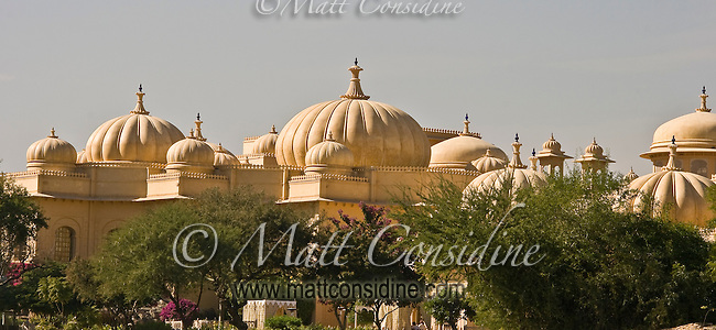 Exterior view of majestic Oberoi Udaivilas Hotel embellished with decorative domes and  turrets.<br /> (Photo by Matt Considine - Images of Asia Collection)