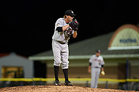 Tri-City ValleyCats relief pitcher Tyler Ivey (41) looks in for the sign during a game against the Batavia Muckdogs on July 14, 2017 at Dwyer Stadium in Batavia, New York.  Batavia defeated Tri-City 8-4.  (Mike Janes/Four Seam Images)