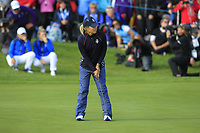 Danielle Kang (USA) on the 18th green during Day 3 Singles at the Solheim Cup 2019, Gleneagles Golf CLub, Auchterarder, Perthshire, Scotland. 15/09/2019.<br /> Picture Thos Caffrey / Golffile.ie<br /> <br /> All photo usage must carry mandatory copyright credit (© Golffile | Thos Caffrey)