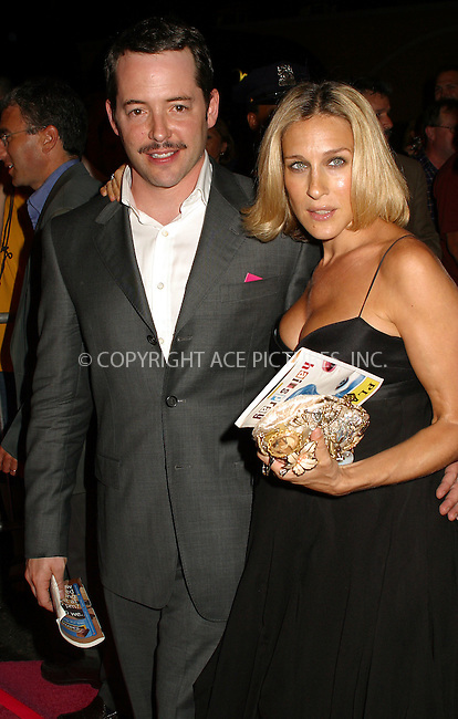 "Opening night for Broadway's newest and hottest show, ""Hairspray"" at Neil Simon Theatre. New York, August 15, 2002. Pictured are very pregnant Sarah Jessica Parker and husband Matthew Broderick. Please byline: Alecsey Boldeskul/NY Photo Press.   ..*PAY-PER-USE*      ....NY Photo Press:  ..phone (646) 267-6913;   ..e-mail: info@nyphotopress.com"