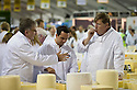 28/07/15<br /> <br /> Food critic Charles Campion, who regularly appears on Masterchef, (right) helps to judge the cheeses.<br /> <br /> Judges search for the winning cheese among 4592 entries at the International Cheese Awards, at the Nantwich Show in Cheshire today.<br /> <br /> All Rights Reserved - F Stop Press.  www.fstoppress.com. Tel: +44 (0)1335 418629 +44(0)7765 242650