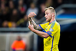 Solna 2015-10-12 Fotboll EM-kval , Sverige - Moldavien :  <br /> Sveriges John Guidetti gestikulerar under matchen mellan Sverige och Moldavien <br /> (Photo: Kenta J&ouml;nsson) Keywords:  Sweden Sverige Solna Stockholm Friends Arena EM Kval EM-kval UEFA Euro European 2016 Qualifying Group Grupp G Moldavien Moldova portr&auml;tt portrait