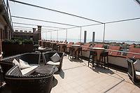 La terrazza dell'hotel Hilton Molino Stucky vista dal Canale della Giudecca, a Venezia.<br /> The terrace of the Hilton Molino Stucky hotel, seen from the GIudecca canal, in Venice.<br /> UPDATE IMAGES PRESS/Riccardo De Luca
