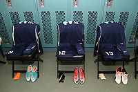 Cary, North Carolina  - Saturday June 03, 2017: Kits of Lynn Williams, Ashley Hatch, and Abby Dahlkemper in the Courage locker room prior to a regular season National Women's Soccer League (NWSL) match between the North Carolina Courage and the FC Kansas City at Sahlen's Stadium at WakeMed Soccer Park. The Courage won the game 2-0.