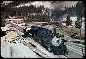 D&amp;RGW #481 K-36 hauling gondolas with crushed rock - Monarch.<br /> D&amp;RGW  Monarch Branch, CO  Taken by LeMassena, Robert A. - 1950