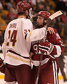 Zach Sanford (BC - 24), Jake Horton (Harvard - 91) - The Boston College Eagles defeated the Harvard University Crimson 3-2 in the opening round of the Beanpot on Monday, February 1, 2016, at TD Garden in Boston, Massachusetts.