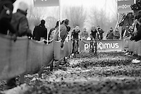 Mathieu Vanderpoel (NLD/BKCP-Powerplus) & Wout Van Aert (BEL/Vastgoedservice-Golden Palace) fighting it out between them in a sea of sticky mud<br /> <br /> Azencross Loenhout 2014