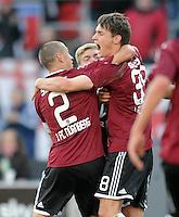 FUSSBALL   1. BUNDESLIGA  SAISON 2011/2012   10. Spieltag 1 FC Nuernberg - VfB Stuttgart         22.10.2011 JUBEL nach dem Tor Timmy Simons , Philipp Wollscheid (v. li., 1 FC Nuernberg)