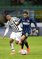 Calcio, Coppa Italia: semifinale di ritorno Inter vs Juventus. Milano, stadio San Siro, 2 marzo 2016. <br /> FC Inter&rsquo;s Eder, right, is challenged by Juventus&rsquo; Alex Sandro during the Italian Cup second leg semifinal football match between Inter and Juventus at Milan's San Siro stadium, 2 March 2016.<br /> UPDATE IMAGES PRESS/Isabella Bonotto