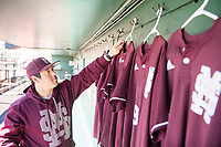 MSU baseball manager Davis &quot;Lucky&quot; Parker, a graduate student in kinesiology from Clinton, prepares jerseys for Friday night's baseball game against the University of Kentucky, one of many Super Bulldog Weekend events taking place April 7-9. For a complete schedule, visit www.hailstate.com/sbw. Follow the weekend's festivities on social media by searching for #SBW17. <br />  (photo by Beth Wynn / &copy; Mississippi State University)